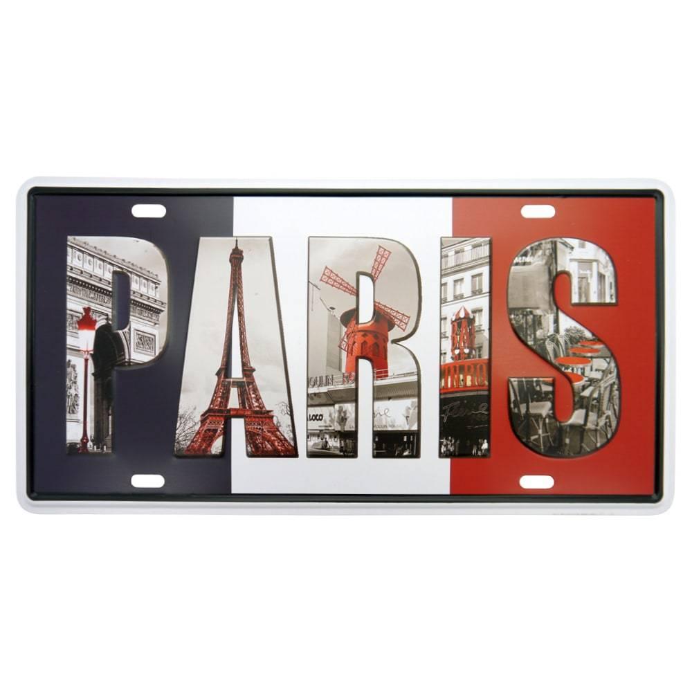 Placa Paris Vermelho/Preto em Metal - 30x15 cm
