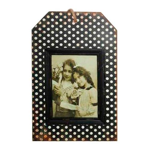 Placa Porta-Retrato Poá Preto e Branco em Madeira - 35x22 cm
