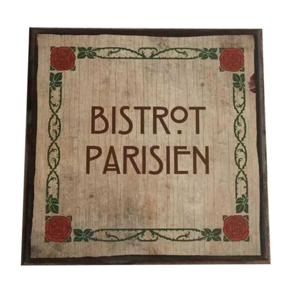 Placa Quadrada Bistro Parisien em Madeira - Urban - 20x20 cm