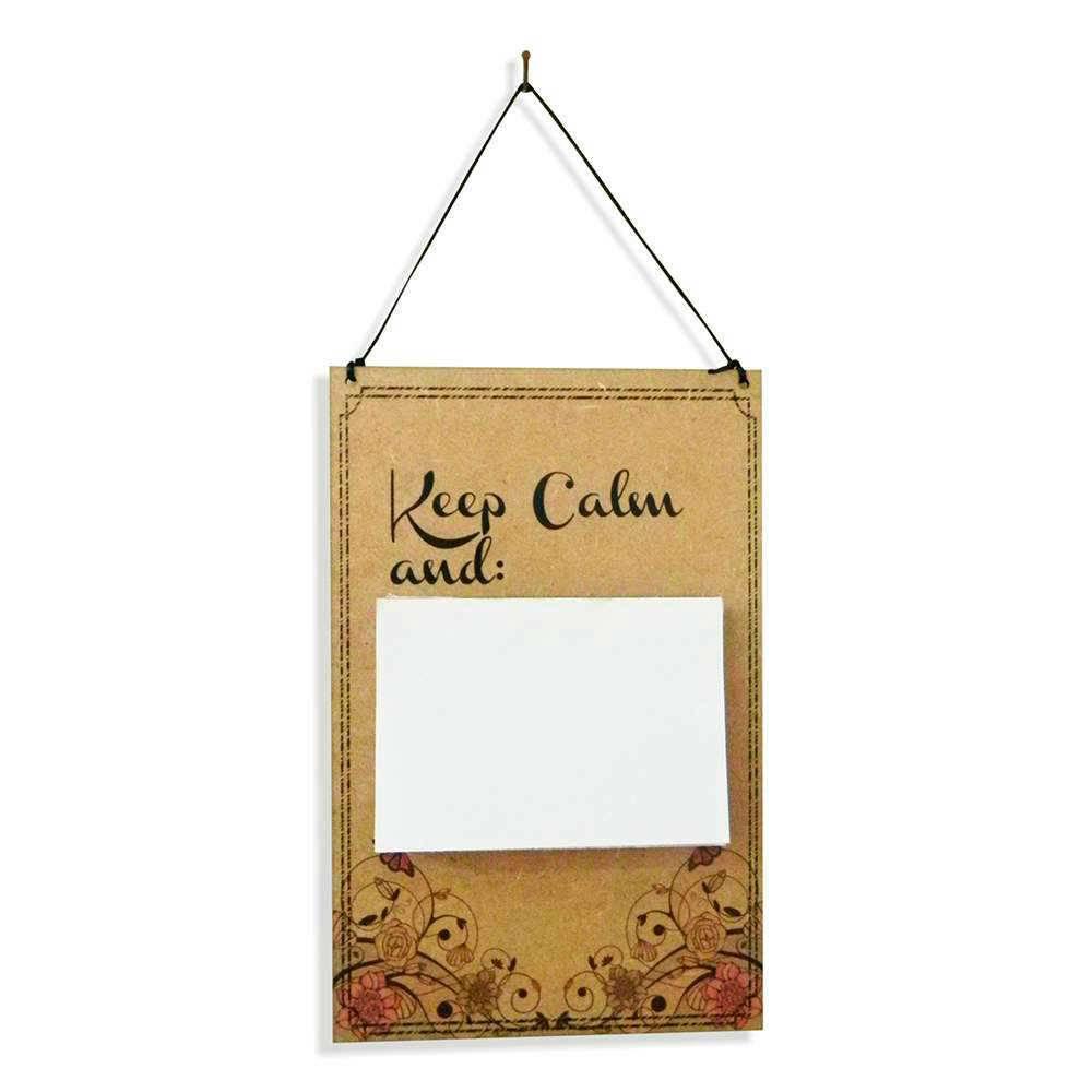 Placa de Recados Keep Calm em MDF Cru - 100 Folhas - 40x14 cm
