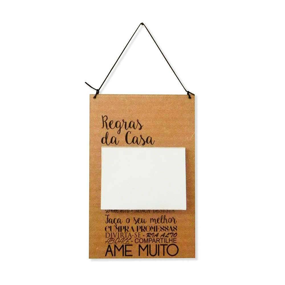 Placa de Recados Regras da Casa em MDF Cru - 100 Folhas - 40x14 cm