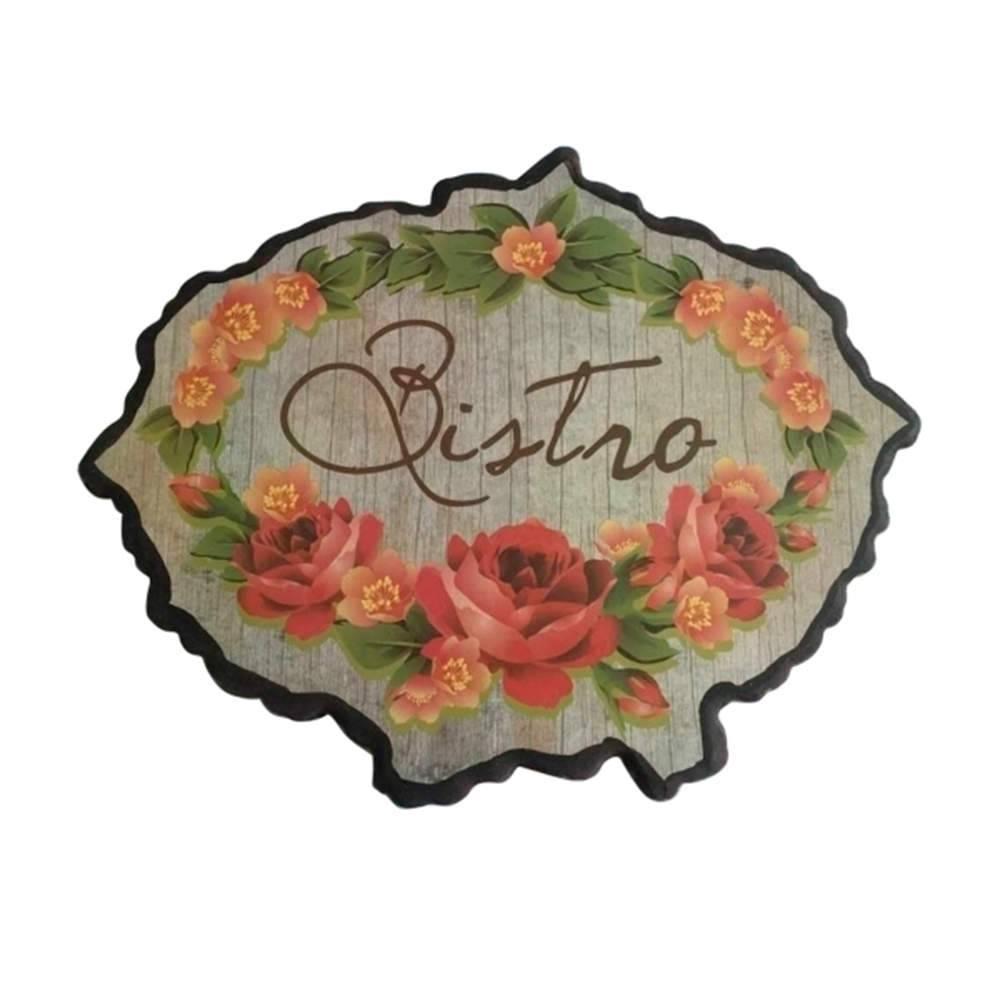 Placa Redonda Bistro Flower em Madeira - Urban - 40x32 cm