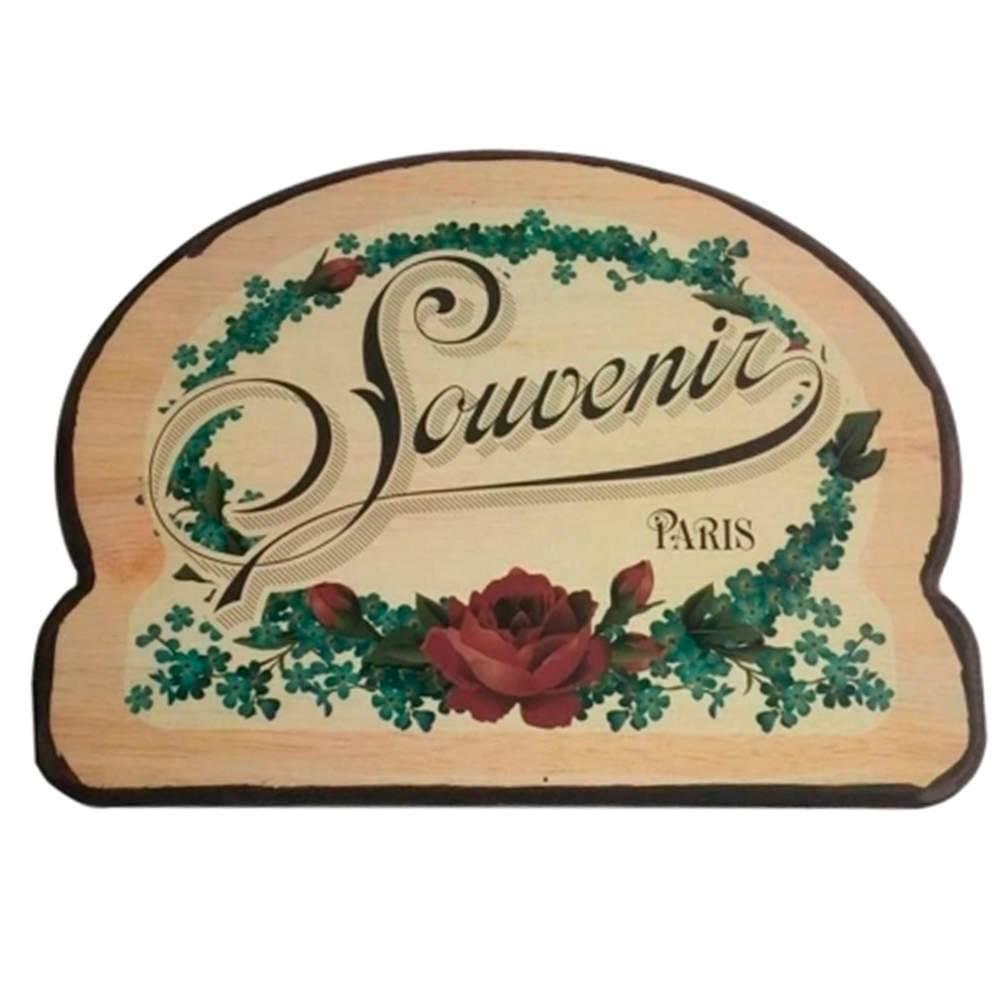 Placa Redonda Souvenir Paris Flower em Madeira - Urban - 40x30,5 cm