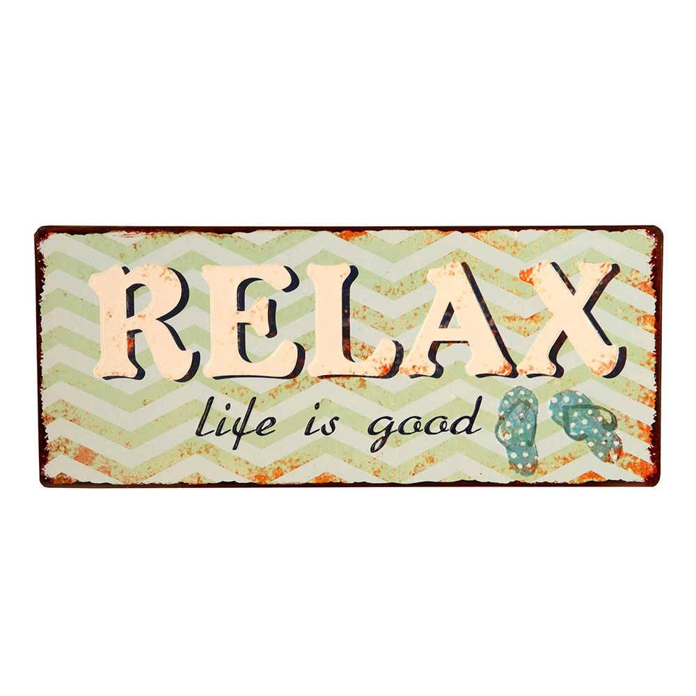 Placa Relax Life Is Good em Metal - 30x14 cm