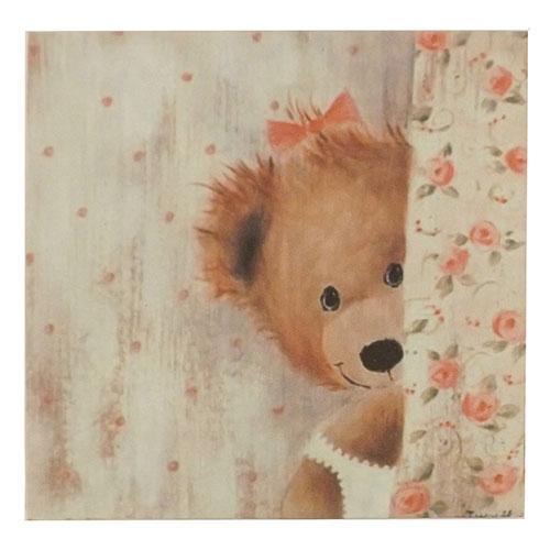 Placa Rosto de Ursinha Escondida - Madeira Estampada - 20x20 cm