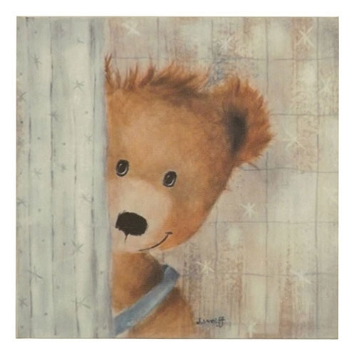 Placa Rosto de Ursinho Escondido -  Madeira Estampada - 20x20 cm