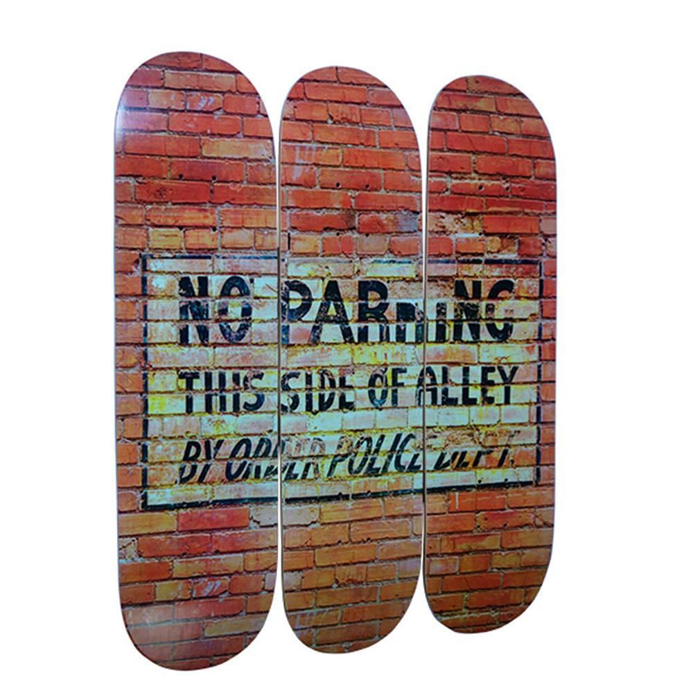 Placa Skate Loft Brick Wall em Madeira - Urban - 80x22 cm