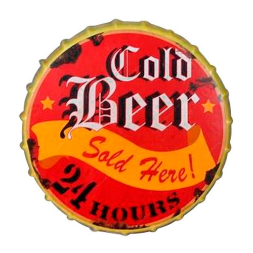 Placa Tampa Cold Beer em Metal - 42X42 cm