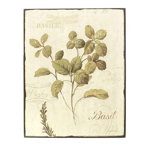 Placa Tempero Basil (Basilic) - Madeira Estampada - 20x25,5 cm