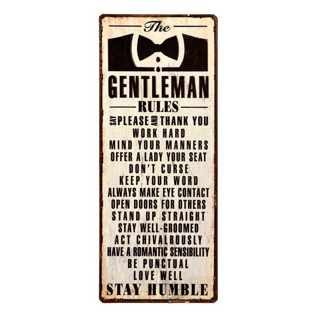 Placa The Gentlemem Rules em Metal - 38x15 cm