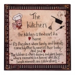 Placa The Kitchen Bege e Preto em Metal - 30x30 cm