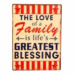 Placa The Love of a Family em Metal - 35x26 cm