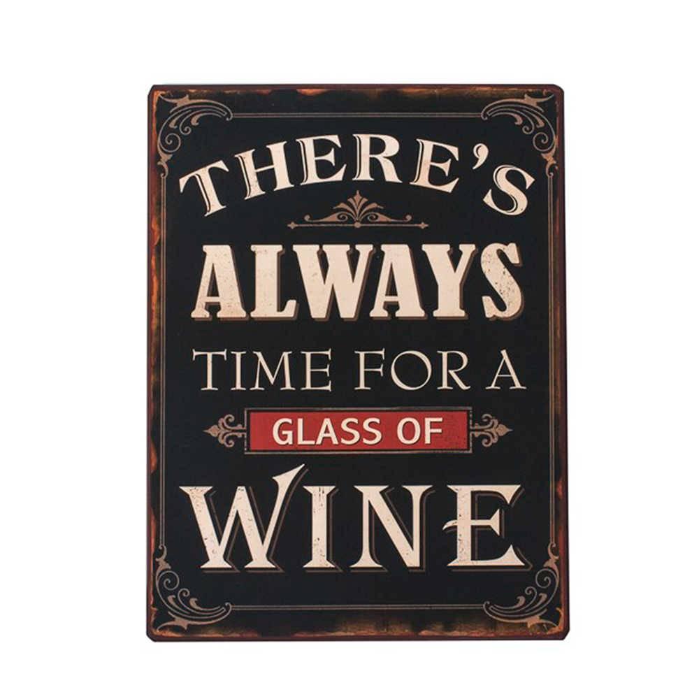Placa There Always Time For a Wine Preta em Metal - 35x26 cm
