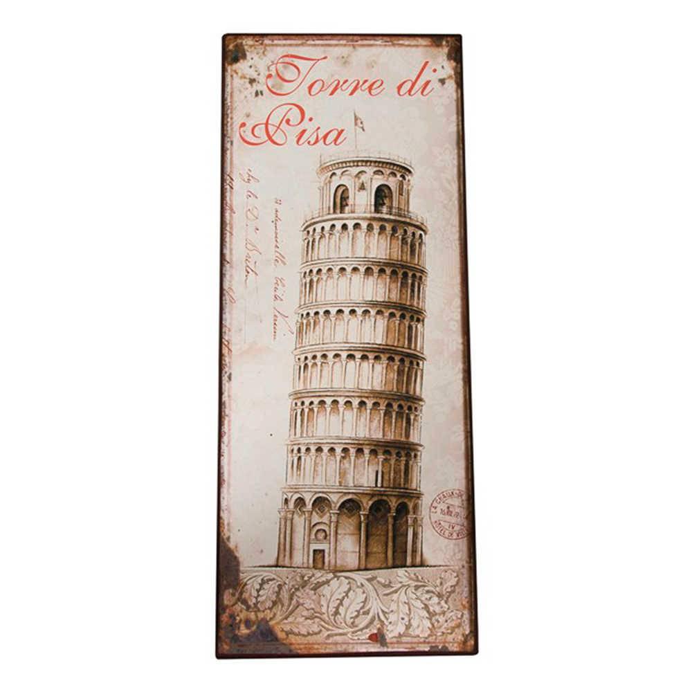 Placa Torre di Pisa Sépia em Metal - 77x30 cm