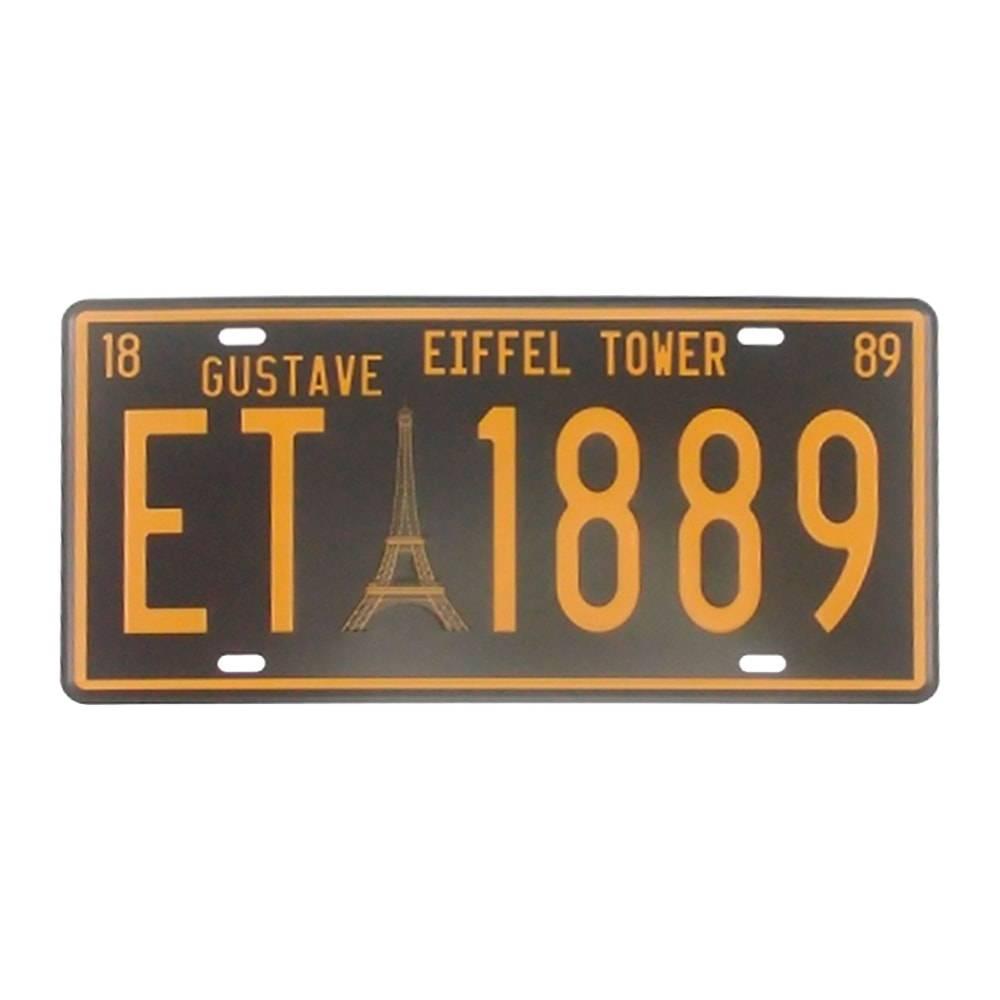 Placa Torre Eiffel 1889 Preto/Amarelo em Alumínio - 30x15 cm