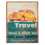 Placa Travel com Acabamento Envelhecido em Metal - 40x31 cm