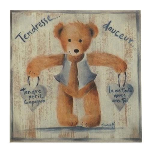 Placa Ursinho em Pé com Corações - Madeira Estampada - 20x20 cm