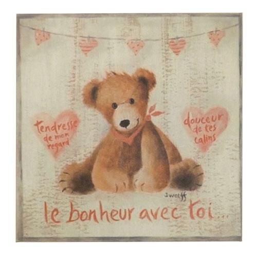 Placa Ursinho Sentado com Corações -  Madeira Estampada - 20x20 cm