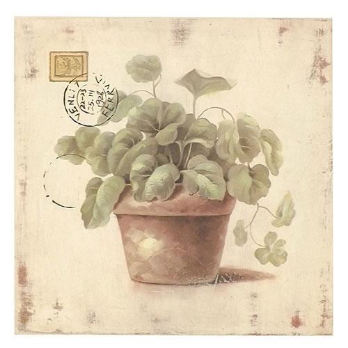 Placa Vaso de Folhagem / Cartão Postal - Madeira Estampada - 32x30 cm