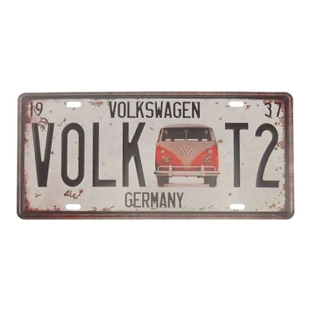 Placa Volkswagem Kombi Germany Branco em Alumínio - 30x15 cm