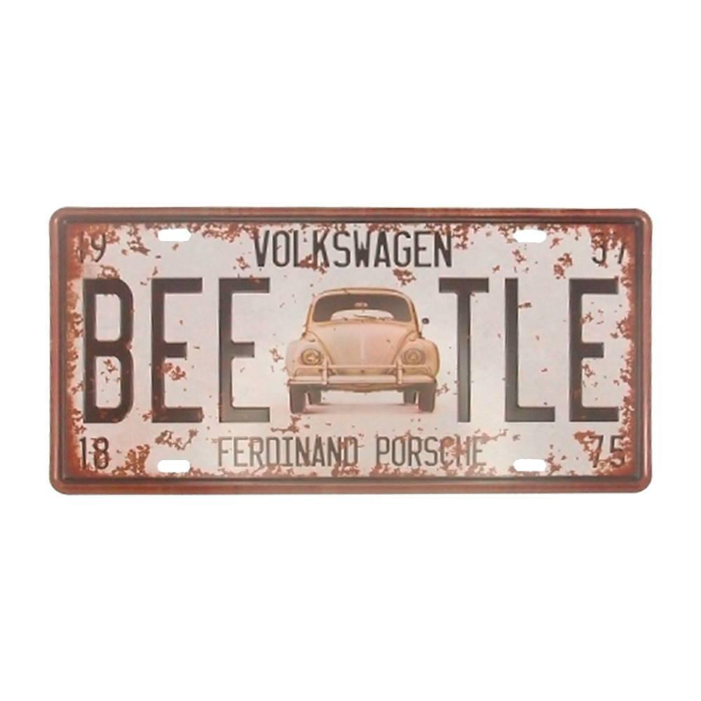 Placa Volkswagen Beetle Branco em Alumínio - 30x15 cm