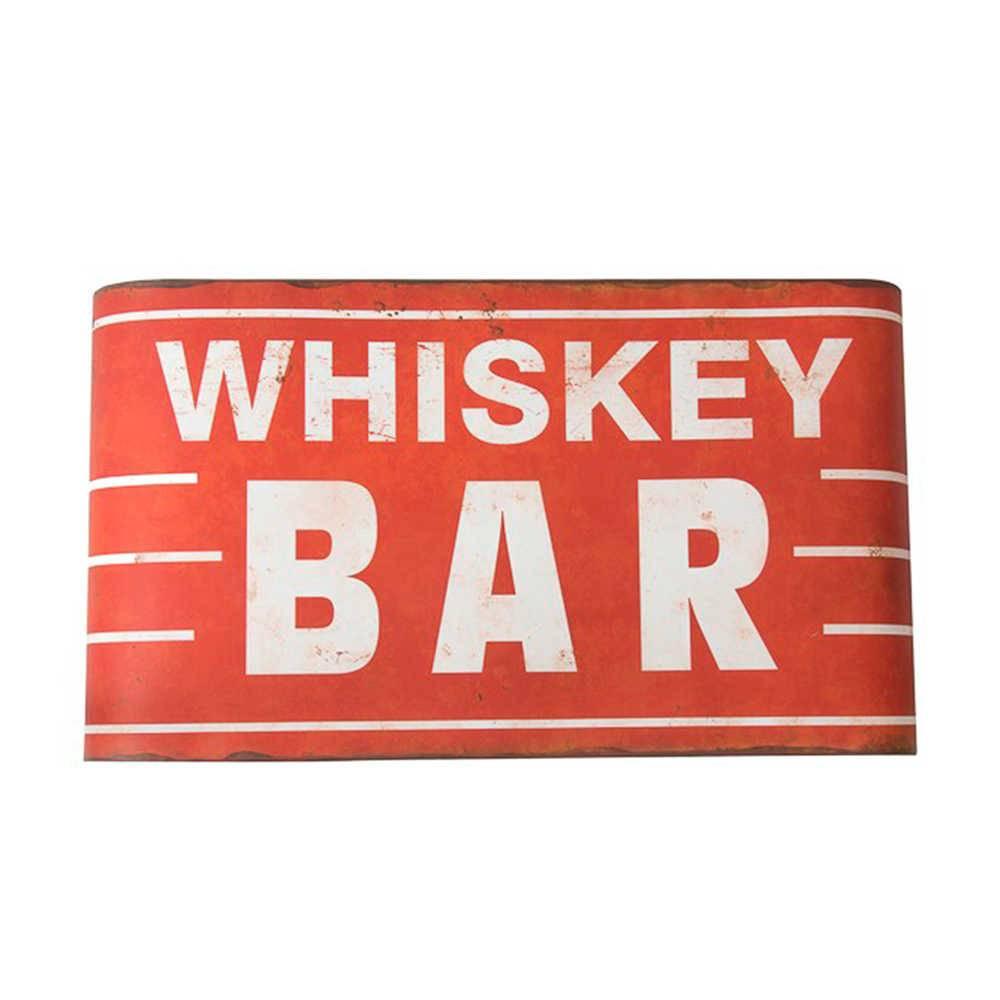 Placa Whiskey Bar Vermelho e Branco em Metal - 63x33 cm
