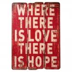 Placa Where There is Love Vermelho em Madeira - 70x50 cm