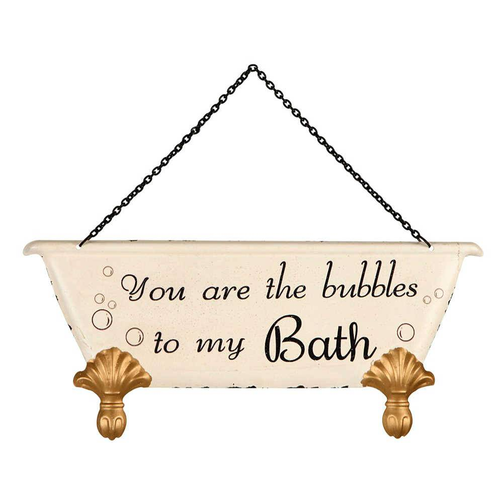 Placa You Are The Bubbles To My Bath em Metal - 30x20 cm