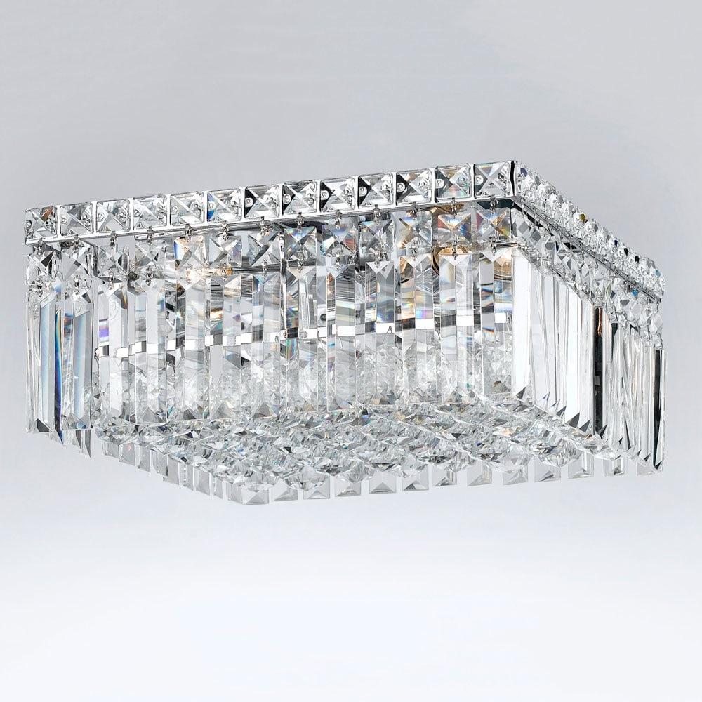 Plafon Bella Translúcido - Bivolt - Metal e Cristais - 35x18 cm