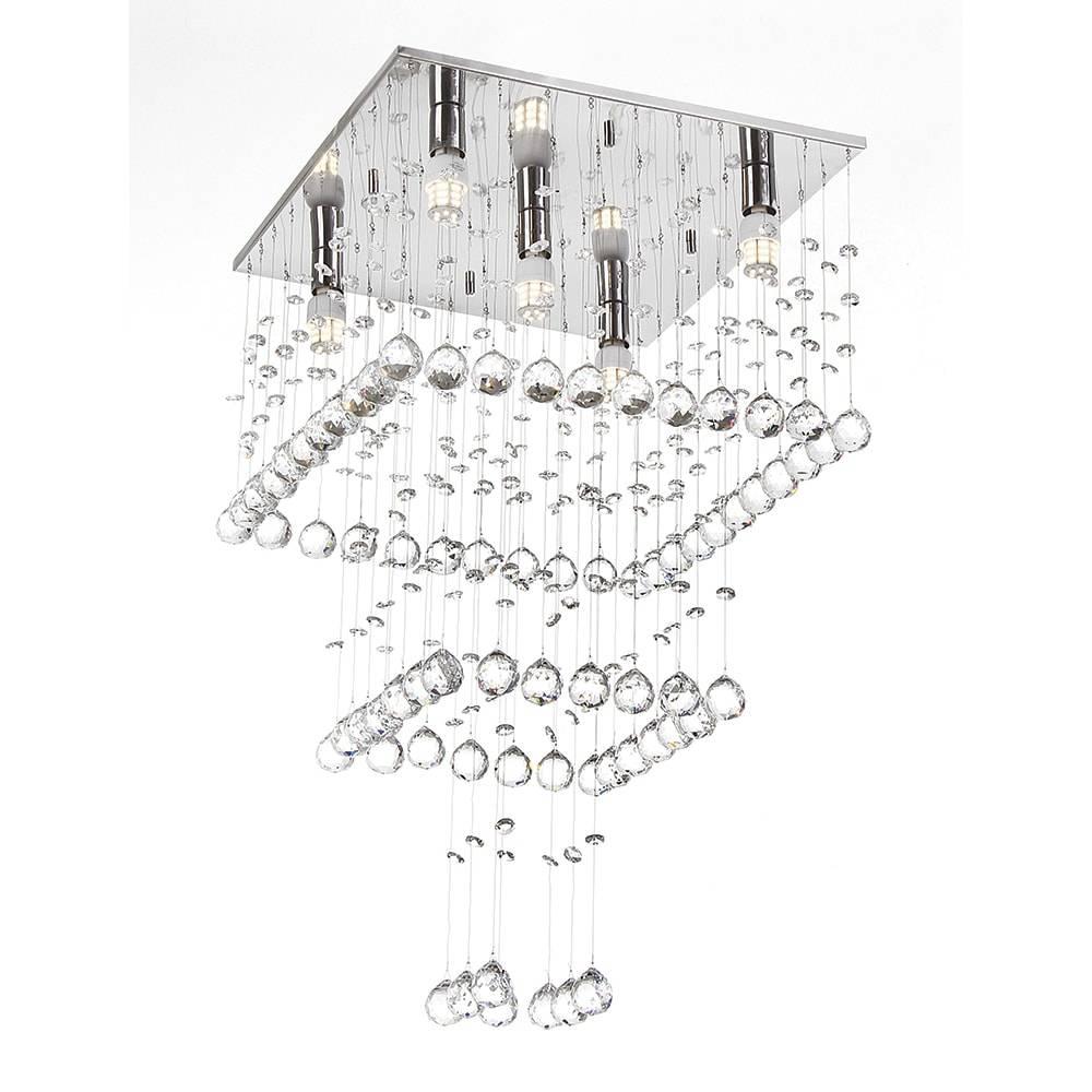 Plafon Berlin com Cristais - p/ 5 Lâmpadas G9 - em Aço Inox - 65x38 cm