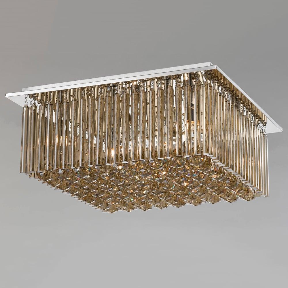 Plafon Conac Conhaque - Bivolt - em Metal e Cristais - 40x21 cm