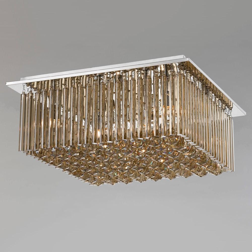Plafon Conac Conhaque Grande - Bivolt - em Metal e Cristais - 50x21 cm
