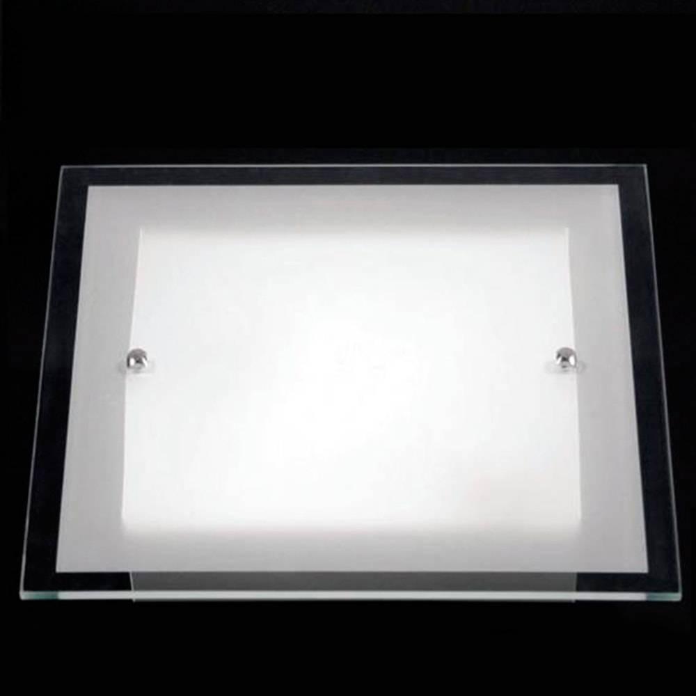 Plafon Cristal Branco em Alumínio e Vidro - 30x30 cm