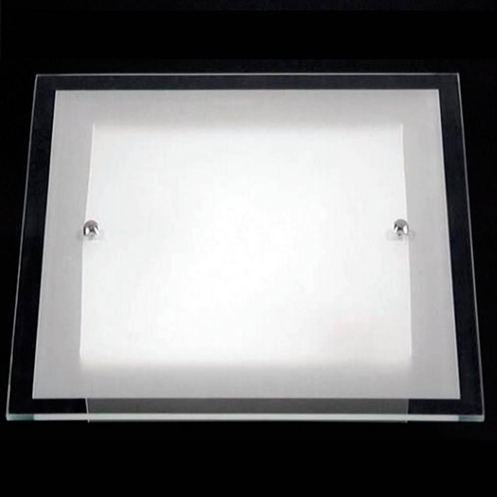 Plafon Cristal Branco em Alumínio e Vidro - 40x40 cm