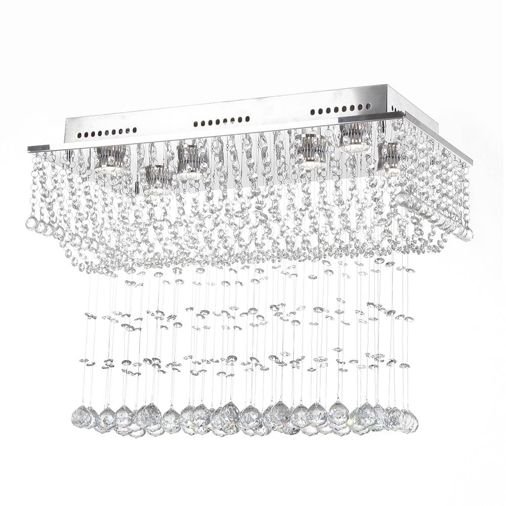 Plafon Dallas com Cristais - p/ 6 Lâmpadas GU10 - em Aço Inox - 60x48 cm