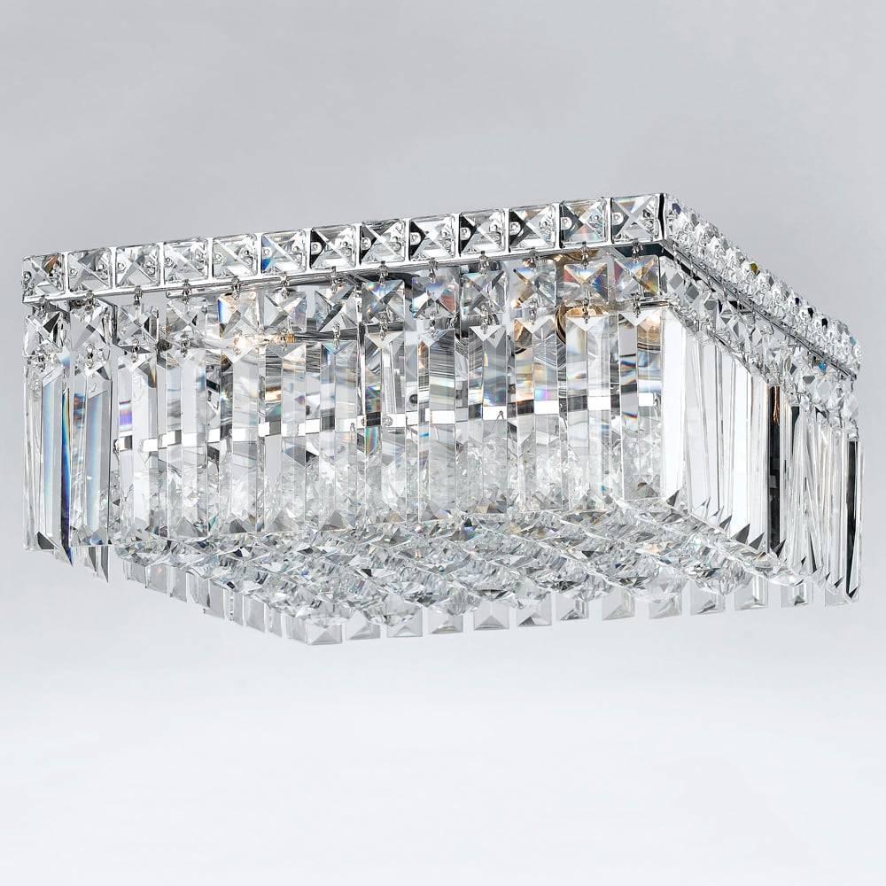 Plafon Glamour Translúcido - Bivolt - em Metal e Cristais - 60x18 cm