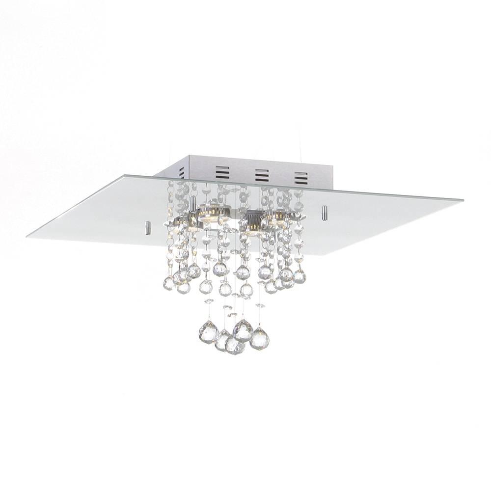 Plafon Malaga Branco com Cristais - p/ 4 Lâmpadas GU10 - em Alumínio - 40x25 cm