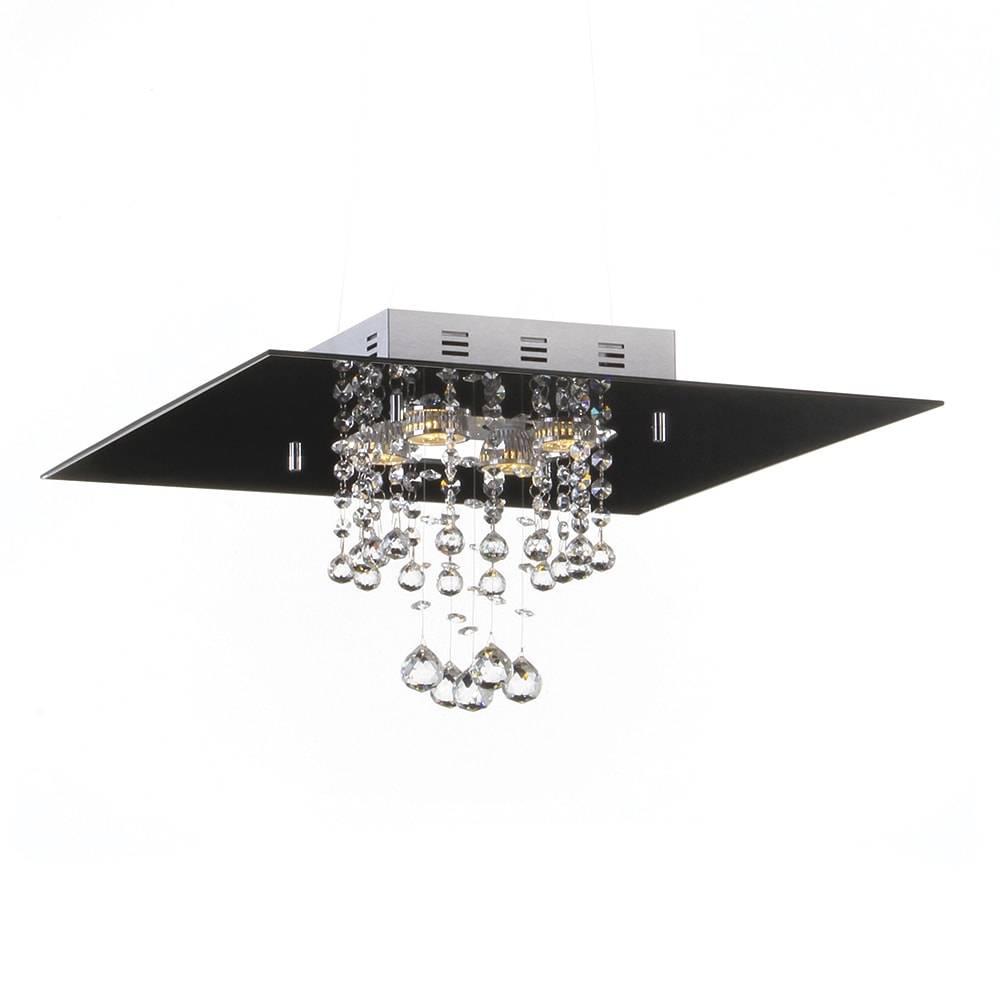 Plafon Malaga Preto com Cristais - p/ 4 Lâmpadas GU10 - em Alumínio - 40x25 cm