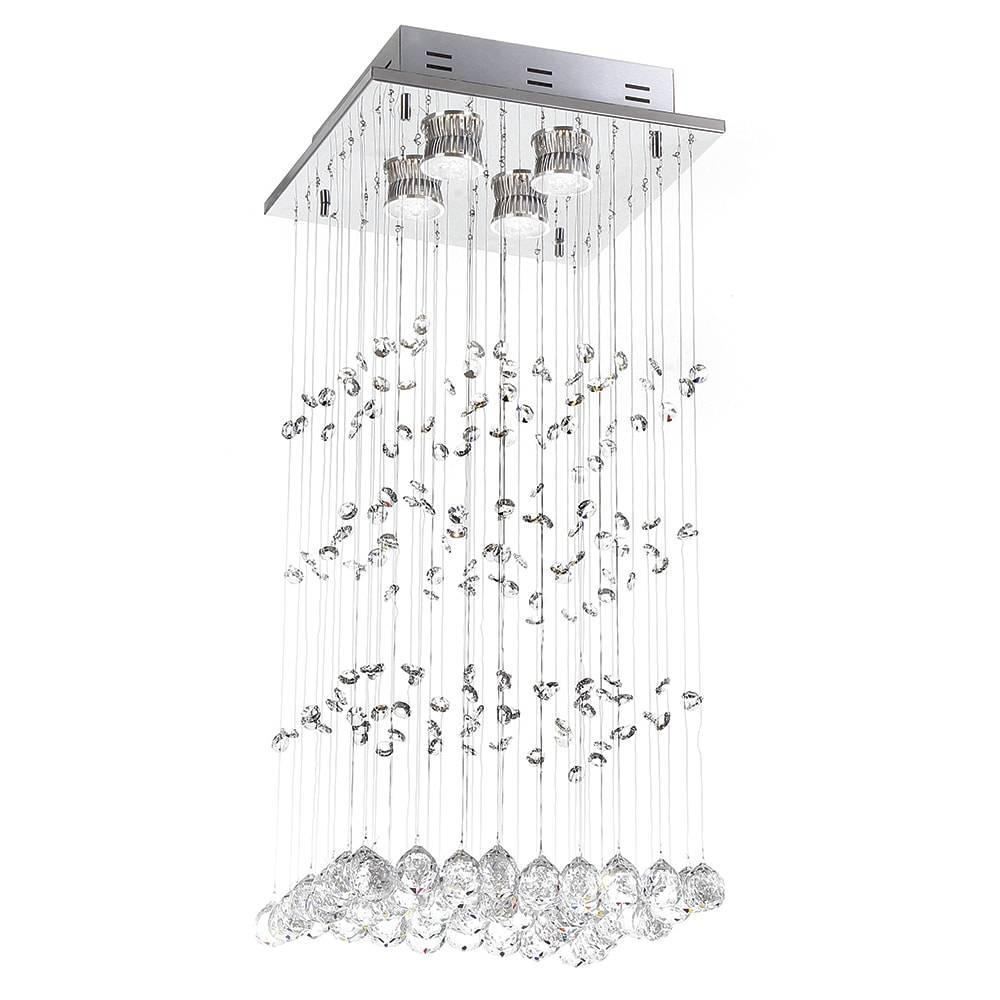 Plafon Moline com Cristais - p/ 4 Lâmpadas - em Aço Inox - 50x28 cm