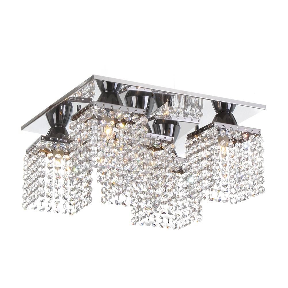 Plafon Pamplona com Cristais - p/ 5 Lâmpadas G9 - em Aço Inox - 38x20 cm