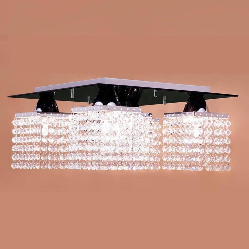 Plafon Pamplona Preto com Cristais - p/ 5 Lâmpadas G9 - em Aço Inox - 38x20 cm