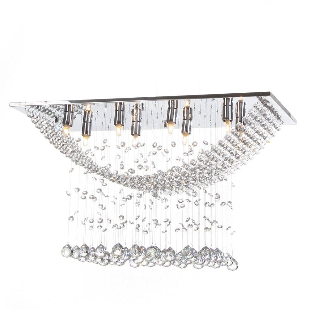 Plafon Paris com Cristais - p/ 8 Lâmpadas G9 - em Aço Inox - 70x40 cm