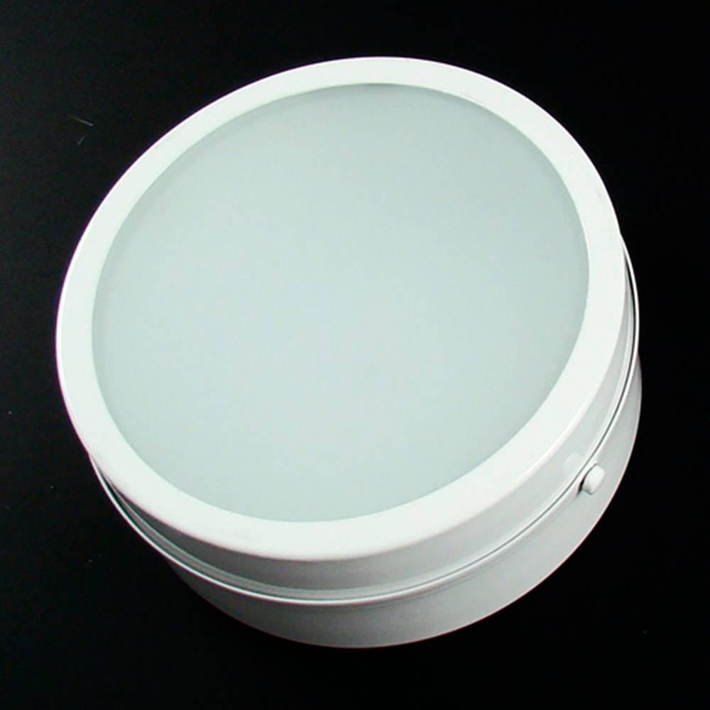 Plafon Redondo de Sobrepor Branco Fosco em Vidro - 20x8 cm