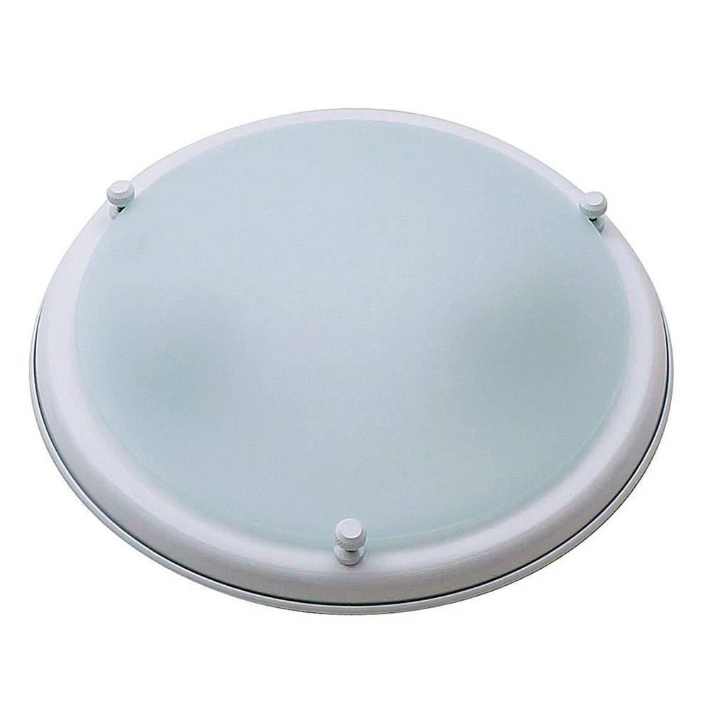 Plafon Saturno Branco Fosco Médio em Vidro - 29x9 cm