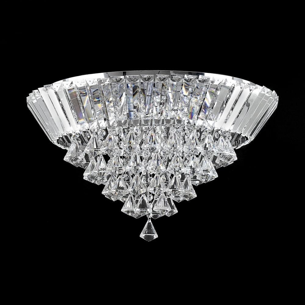 Plafon Top Diamonds Translúcido - Bivolt - em Metal e Cristais - 35x30 cm