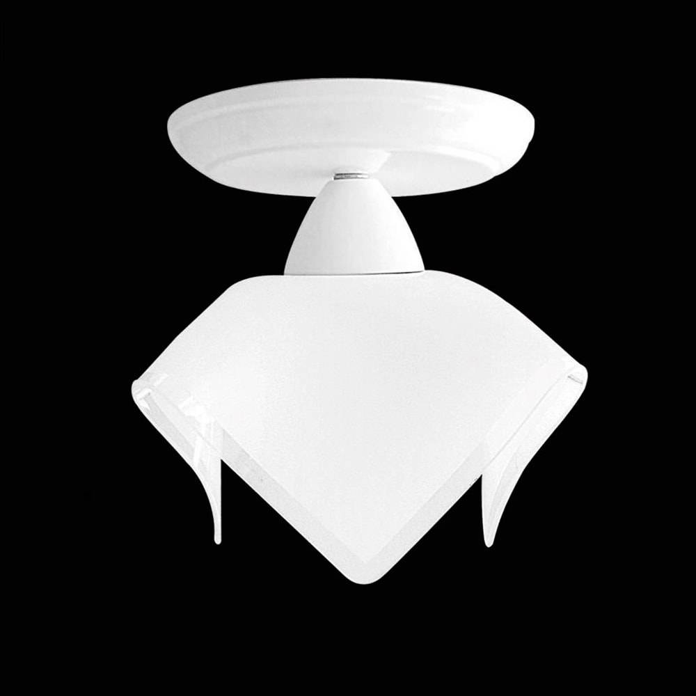 Plafon Tulipa Branco em Alumínio e Vidro - 20x20 cm