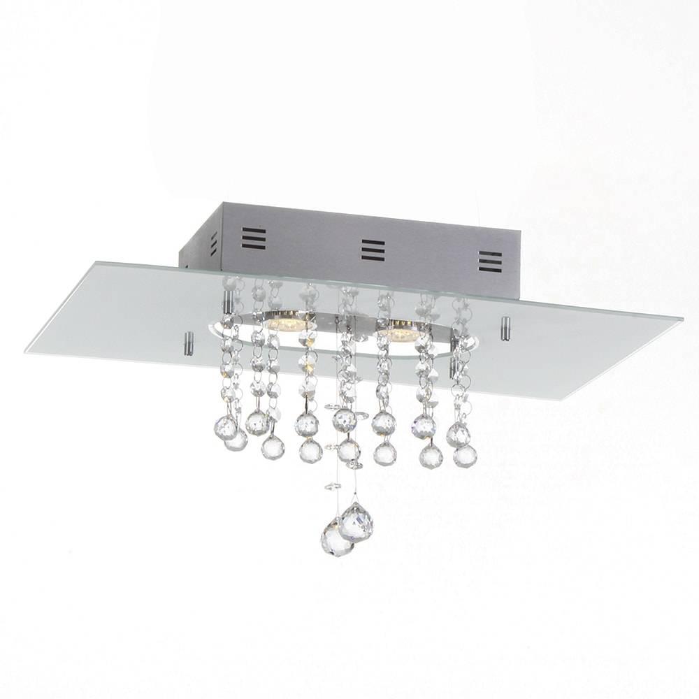 Plafon Valência Branco com Cristais - p/ 2 Lâmpadas GU10 - em Alumínio - 50x30 cm