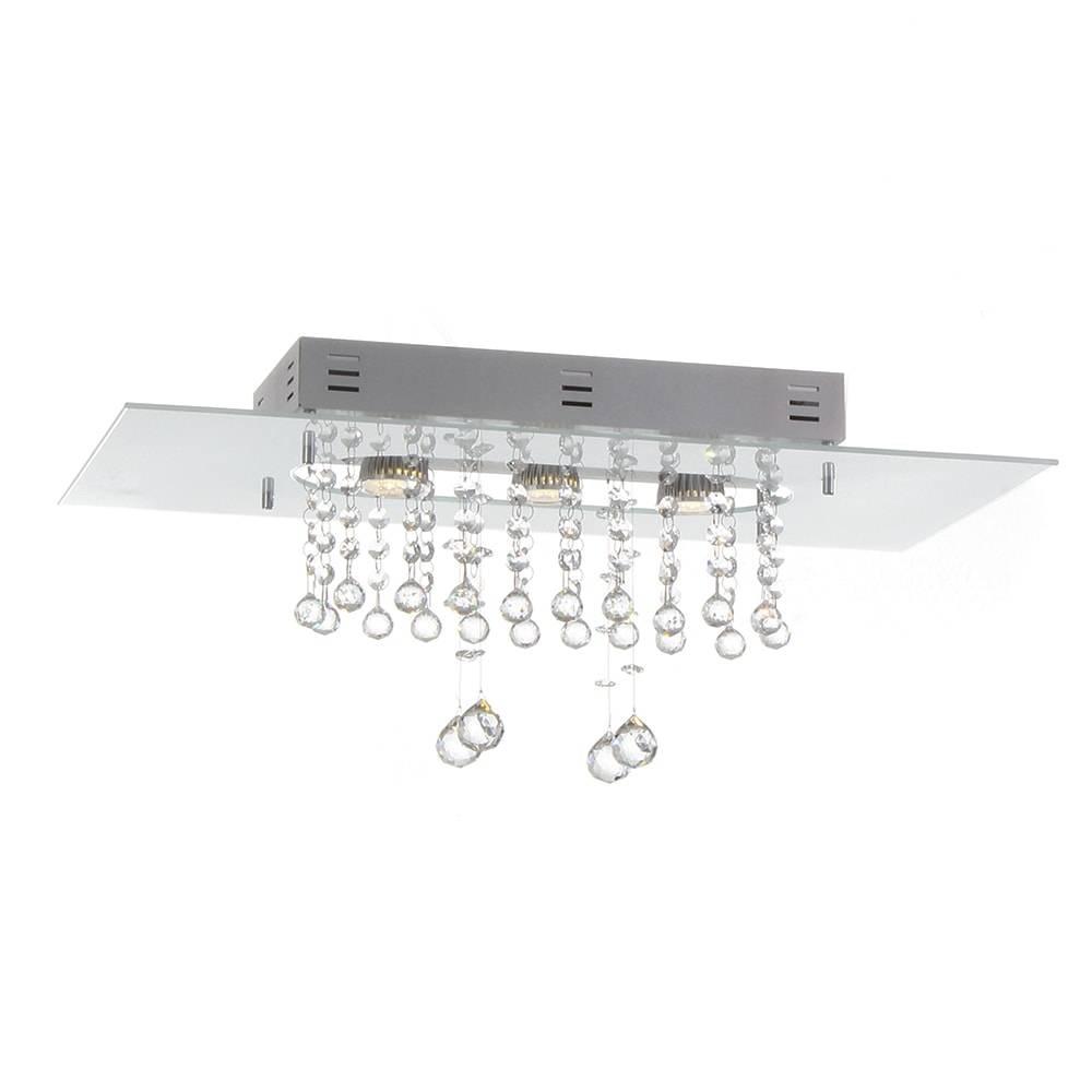 Plafon Valência Branco com Cristais - p/ 3 Lâmpadas E27 - em Alumínio - 60x30 cm