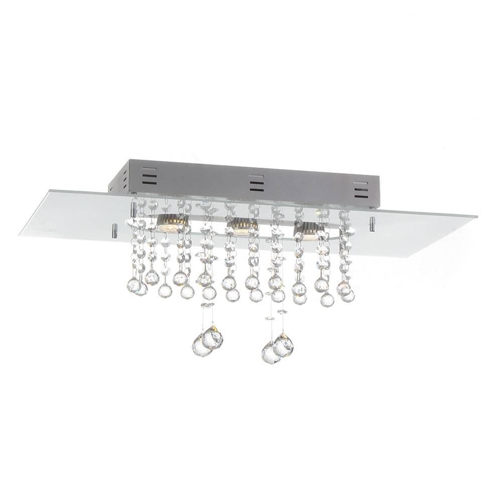 Plafon Valência Branco com Cristais - p/ 3 Lâmpadas G9 - em Alumínio - 60x30 cm