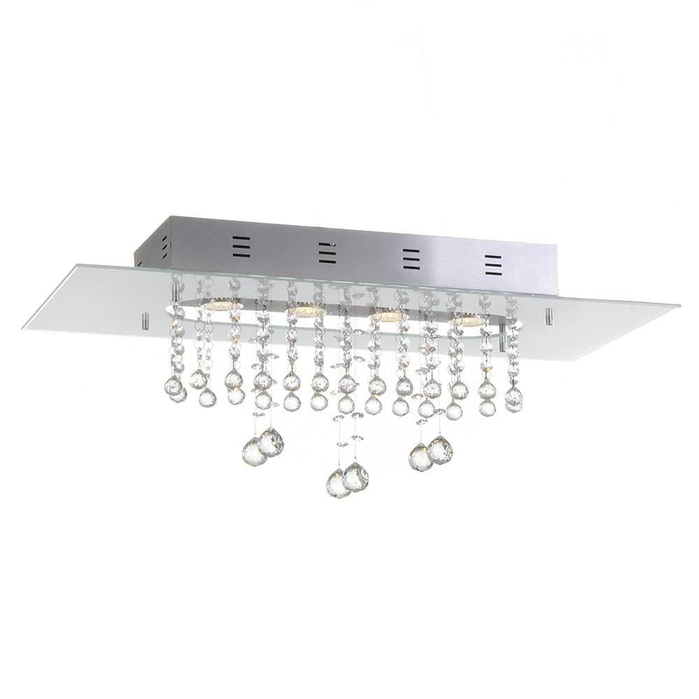 Plafon Valência Branco com Cristais - p/ 4 Lâmpadas GU10 - em Alumínio - 70x30 cm